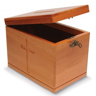 Offertory Box in Light/Dark Natural Wood with Lock-0