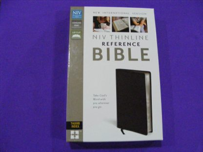 NIV Thinline Reference Bible - Black Bonded Leather-0