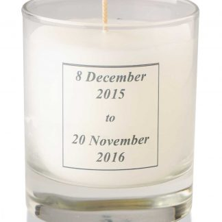 Candle in glass with Mercy transfer - 6-0