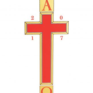 Alpha & Omega with Red Cross/Gold Edging with date-0