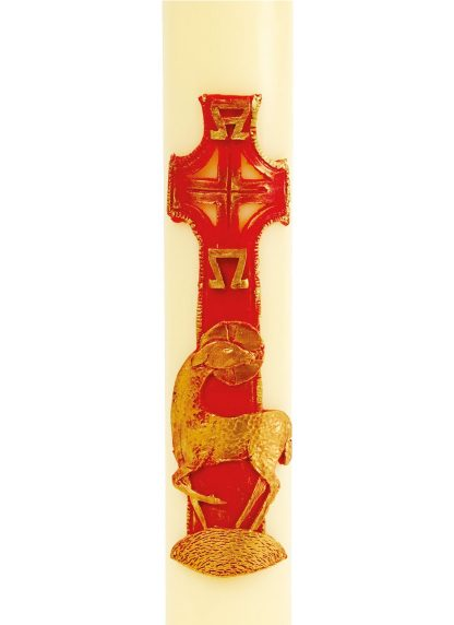 """Lamb & World in Red & Gold Design (Suitable for 2"""" Candles)-0"""