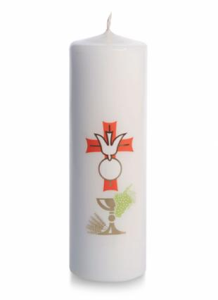White First Communion / Confirmation Candle (wrapped) - Pack of 5 CODE BC04A-0